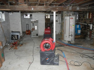 Drying equipment to dry out basement that had been flooded.
