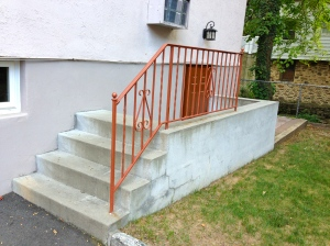 Flood mitigation via concrete stairway